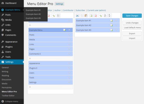 Admin Menu Editor Pro Features