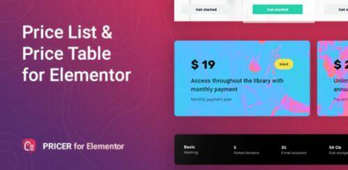 Pricer Price List for Elementor