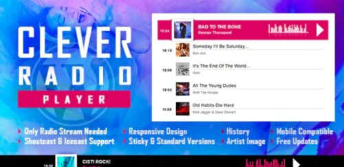 CLEVER - HTML5 Radio Player With History - Shoutcast and Icecast - WordPress Plugin