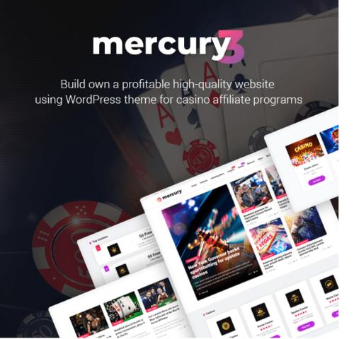 Mercury - Gambling & Casino Affiliate WordPress Theme