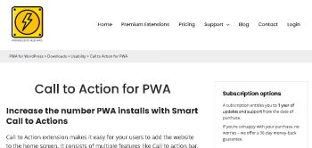 Call to Action for PWA