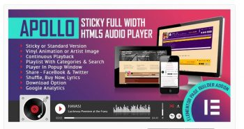 Apollo - Sticky Full Width HTML5 Audio Player - Elementor Widget Addon