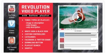 Revolution Video Player With Bottom Playlist - YouTube/Vimeo/Self-Hosted Support