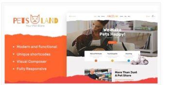 Pets Land - Domestic Animals Shop & Veterinary WordPress Theme