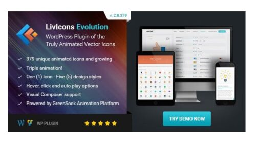 LivIcons Evolution for WordPress - The Next Generation of the Truly Animated Vector Icons