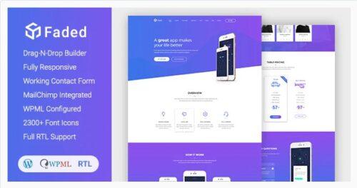 Faded - Responsive App Landing Page WordPress Theme + RTL