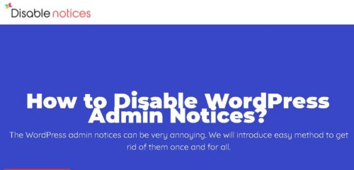 Disable Admin Notices Premium