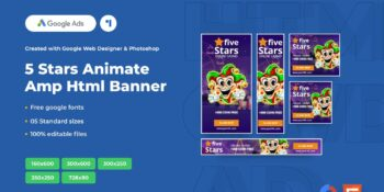 5 Stars Animate Ads Template AMPHTML Banners