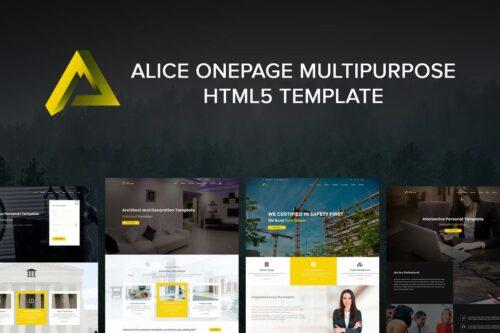 Alice Onepage Multipurpose HTML Template