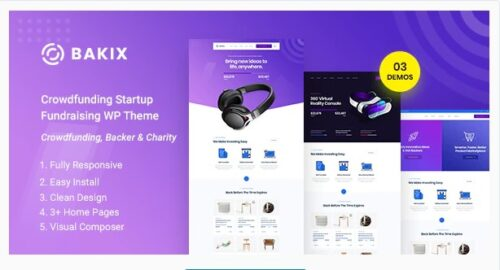 Bakix - Crowdfunding Startup & Fundraising WordPress Theme
