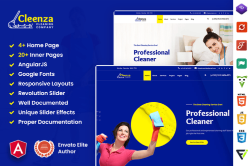 Cleenza - Cleaning Service Angular 10 Template