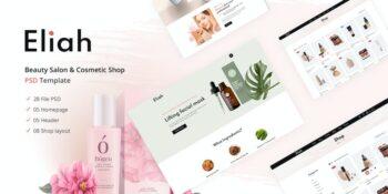 Eliah Beauty Salon & Cosmetic Shop PSD Template