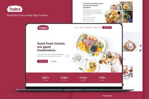 Foodera - Responsive Food Landing Page Template