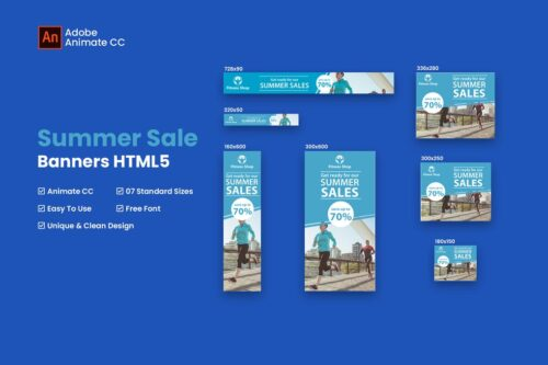 HTML Summer Sales Fitness Banner - Animate CC