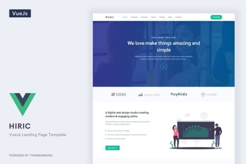 Hiric - VueJS Home Page Template