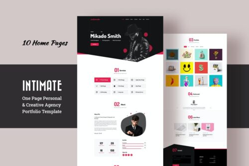 Intimate - Personal Portfolio and One Page Agency