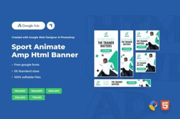 Sport Animate Ads Template AMP HTML Banners