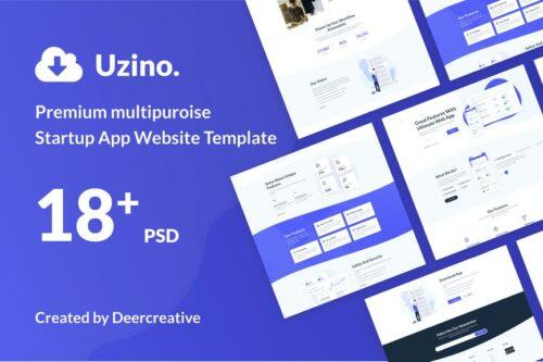 Uzino Premium Startup App PSD Template