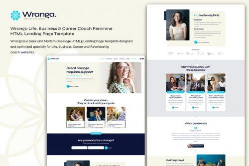 Wranga Life Coach Female HTML Landing Page