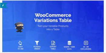 Woocommerce Variations to Table